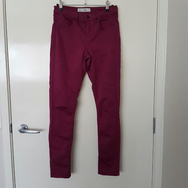 Topshop Moto Leigh Burgundy Skinny Jeans 26