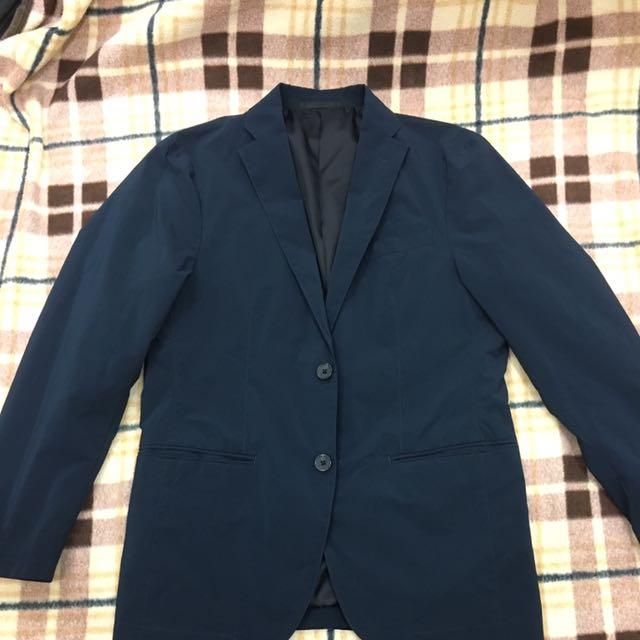 Uniqlo 深藍色輕薄休閒西裝外套 S號