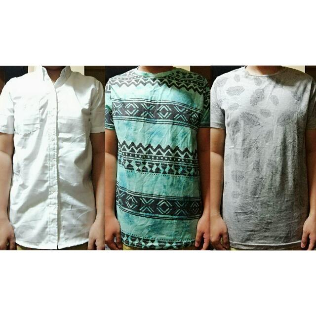 ALL 3 FOR P950 White Polo Shirt & 2 Shirts (Gray & Blue)  White Polo - 600 Gray & Blue Shirts - 225 each/2 for 399