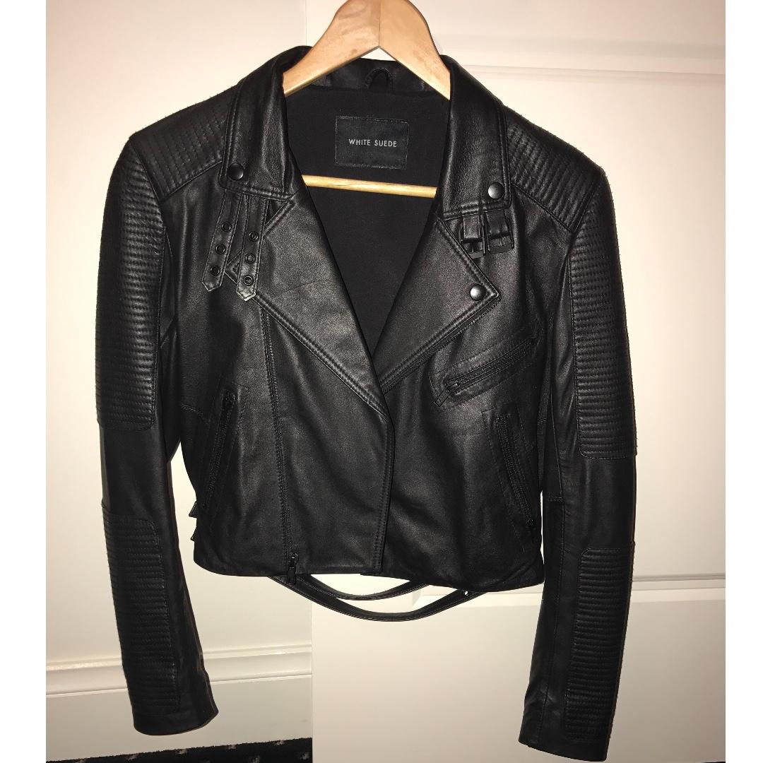 White Suede Biker Leather Jacket