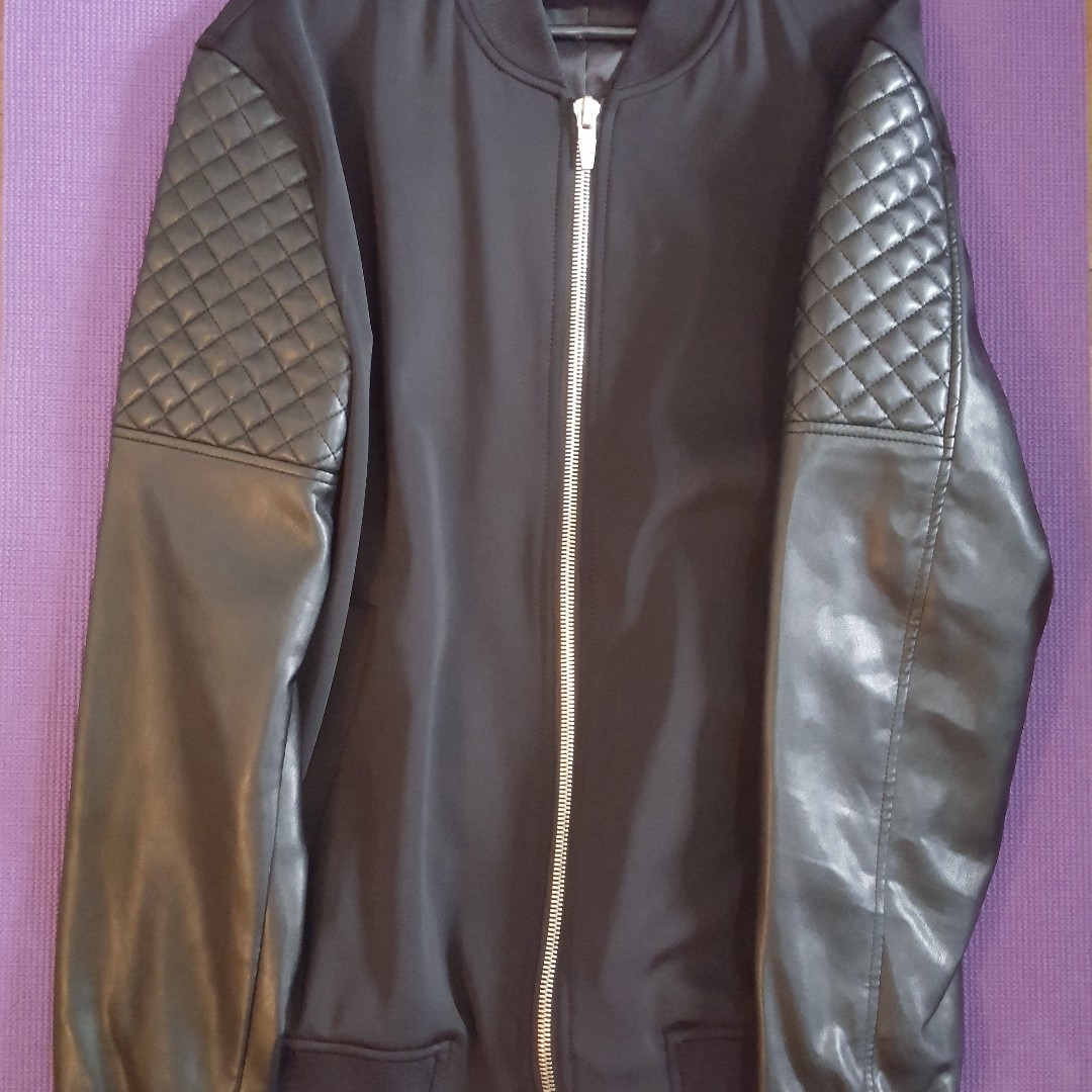 ZARA MAN Bomber Jacket Leather Quilted Sleeves Black Guys Men