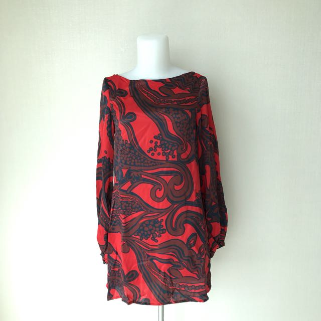 Zara Red Silk Dress