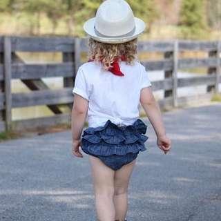 兒童女童幼兒牛仔麵包褲短褲大pp褲