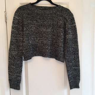 salt and pepper cropped sweater