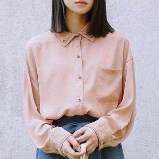 素色刺繡襯衫