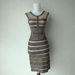 Herve Leger Stripes Beidge Dress