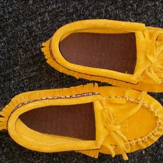 Unisex Kids Moccasin tan Leather