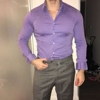 Italian Made Slimfit Purple Dress Shirt