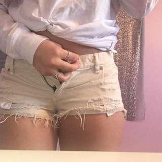 Cream Distressed Denim Shorts