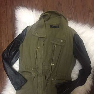 Zara Mixed Leather Military Jacket