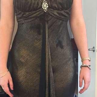 Sparkling Brown Shimmer Ball Dress - Size 12