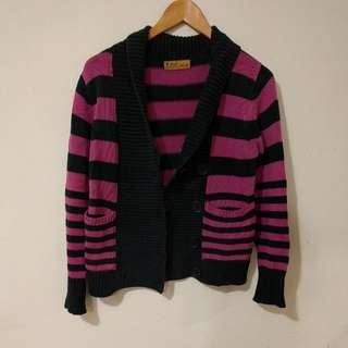 No Brand Pink/Black Striped Knit Cardigan