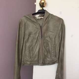 Vintage Leather Jacket - Khaki (Size 8)
