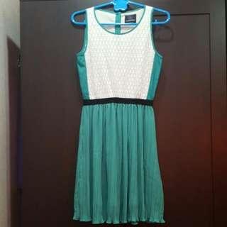 Plains & Prints Green Pleated Dress