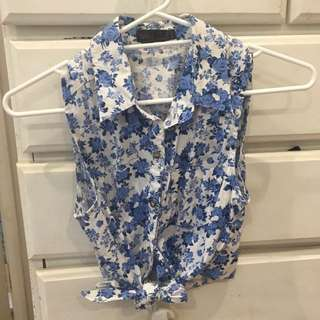 Tie Up Floral Shirt Ally
