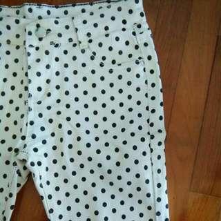 brand new black polka dot skinny jeans