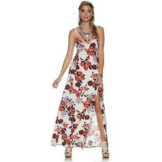 Aryessa Long Slit floral Maxi Dress