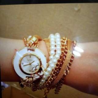 典雅氣質玫瑰花造型的鍊錶