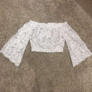 White Lace Off Shoulder Crop