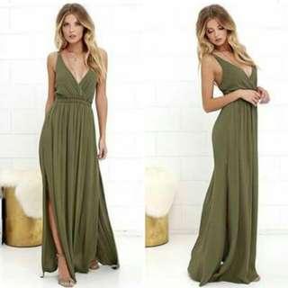 Stella Green Slit Long Dress