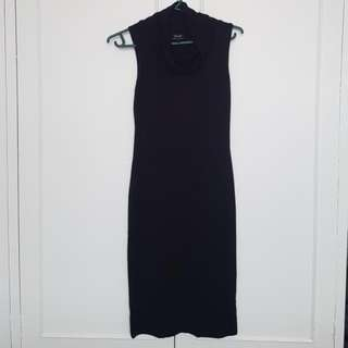 Bardot Cowl Neck Black Midi Dress