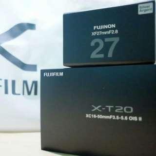 [JUAL FUJIFILM XT20 + Lensa Kit 16-50mm + Lensa Fix 27mm [BARU, Harga 17juta NEGO]