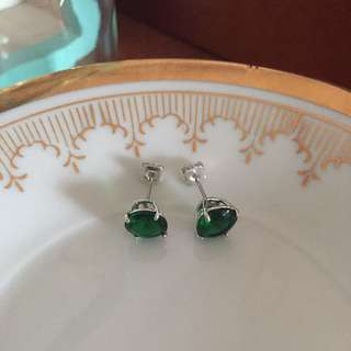 emerald green silver earrings studs