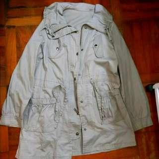 淺啡色薄拉鏈長袖長身外套