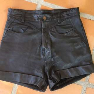 Black Leather High Waisted Shorts - Custom Made - Size 6 Or Xs