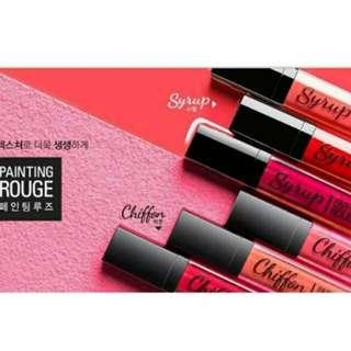 韓國 Missha 紅磨坊胭脂唇膏 9成新 只有試色過 兩色可選 2018/12 CRD02偏橘紅 CPK01偏桃紅