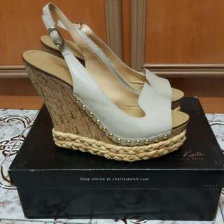 Charles And Keith Platform Wedges Size 38  Nude Beige Colour