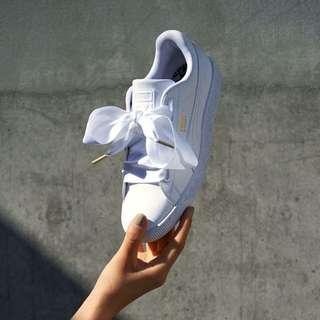 🚚 超夯Puma 白色緞帶鞋