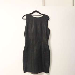 Warehouse Leather Body Con Dress