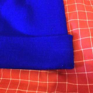 寶藍色反摺毛帽