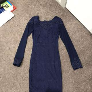 Navy Lace Sheer Bodycon Long Sleeve Dress Size 8