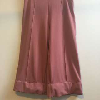 Dusty Pink Wide Leg Cuffed Pants - Size 10