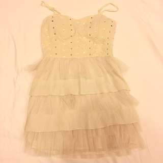 Valleygirl CREAM COLOUR PARTY DRESS