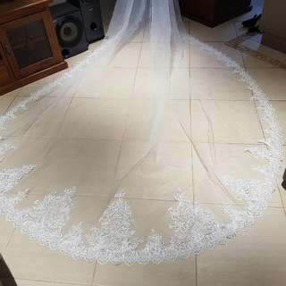 3.5m Cathedral Ivory Lace/sequin Veil
