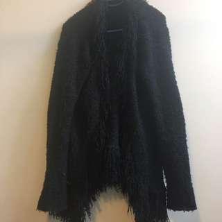 Black Wool Jacket Furry 90s Lapels - Size 12