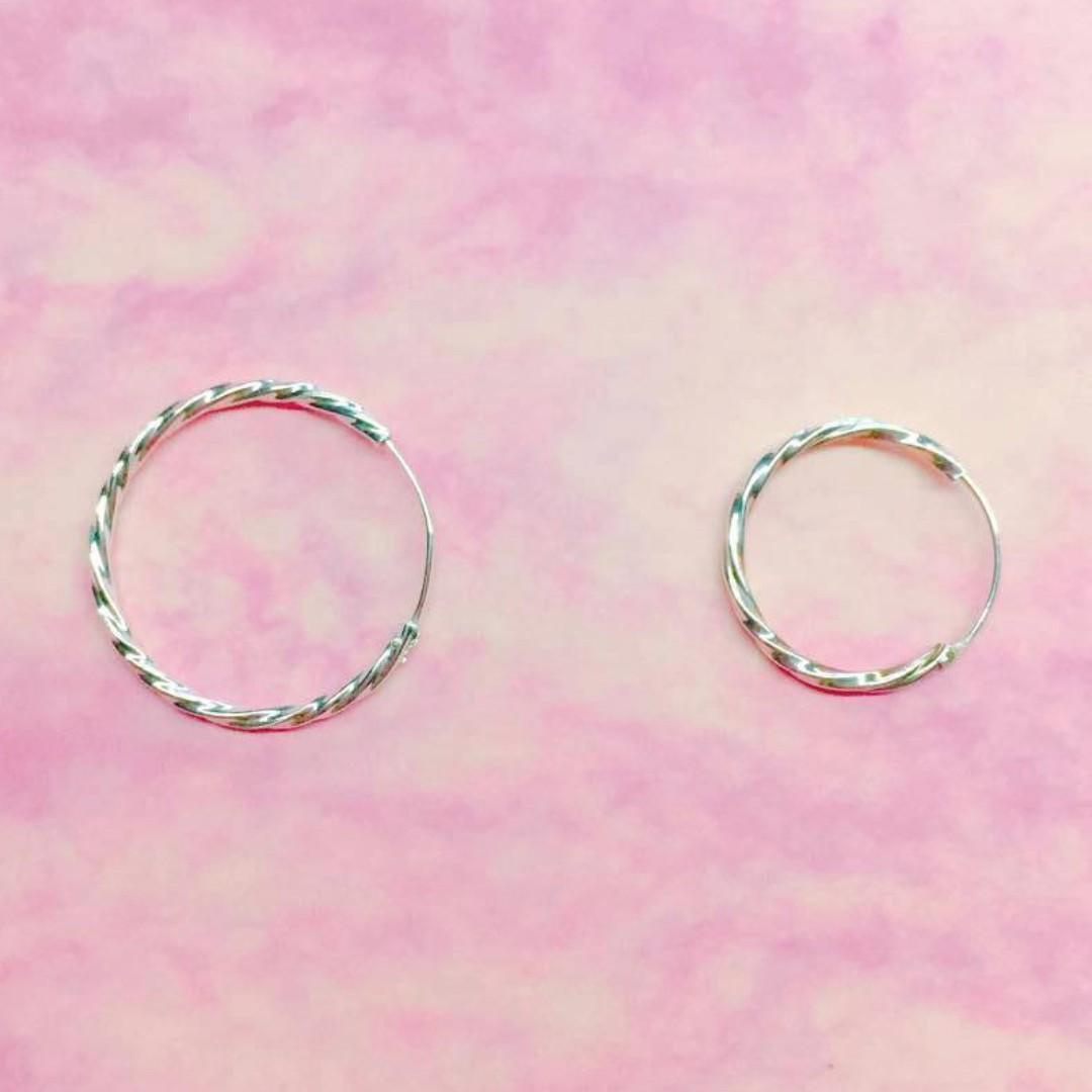 純銀麻花耳環(15mm)