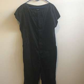 Black Painters Overalls, Loose Fit Calf Length Jumpsuit - Size 10