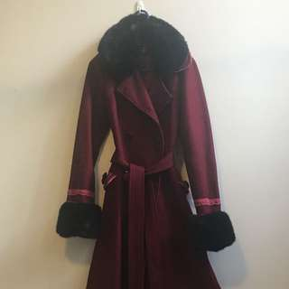 Heavy Wool Lolita Coat, Ox Blood & Black, Faux Fur Cuffs And Collar - Size 10
