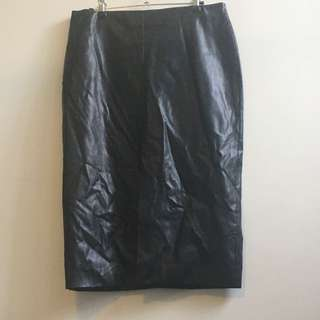 High Waisted Black Leather 3/4 Skirt - Size 10