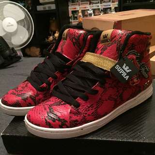 SUPRA SUPRANO HIGH RED SNAKESKIN, SIZE US 11