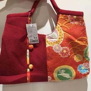 🇯🇵紅色和風布手挽袋