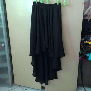 Black Layered Flowing Skirt