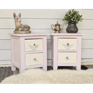 Light Dusty Pink & White Shabby Vintage Bedside Tables with Crystal Knobs
