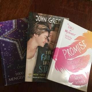 1 Set Novel Charon 1000 Musim Mengejar Bintang John Green The Fault In Our Stars Promise Wendy Wunder