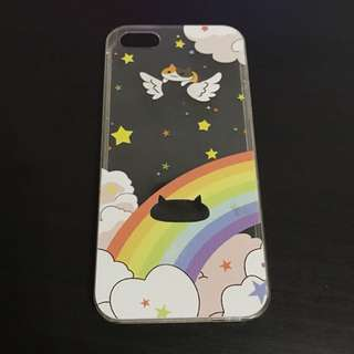 🚚 Transparent Clear Iphone 5 / 5s Cat Rainbow Case