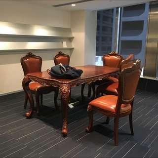 仿古枱凳 Meeting Table w/ 5 Chairs